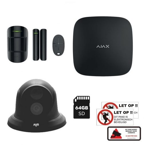 AJAX HUBKIT zwart 4MP UNV Camera met 64GB MicroSD